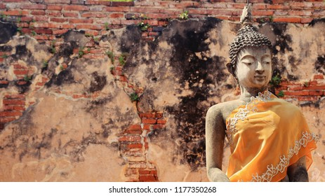 The ancient Buddha image in temple world heritage Thailand