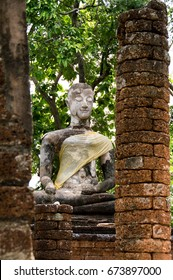 Ancient Buddha Located within Si Satchanalai Historical Park, a major world heritage of Thailand, This is the Buddha have a face That gentle smile is filled with kindness.