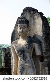Ancient Buddha sculptures in Sukhothai era, Thailand