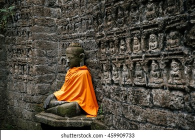 Ancient Buddha statue in Kothaung Paya temple in Mrauk-U city, Rakhine state, Myanmar