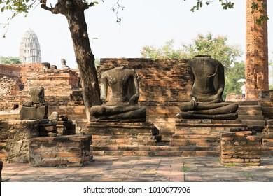 Ancient Buddha statue, pagoda and temple at Ayuthaya province, Thailand