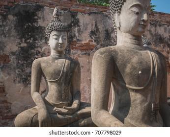 Ancient buddha statue of Phutthaisawan Temple in Ayutthaya, Thai