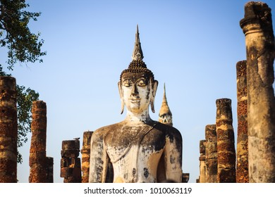 The Ancient Buddha statue in Sukhothai Historical Park, the famous tourist attraction of Thailand.