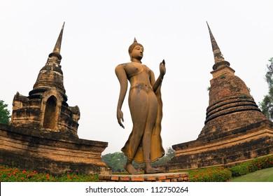 Ancient buddha statue. Sukhothai Historical Park, Sukhothai Province, Thailand.
