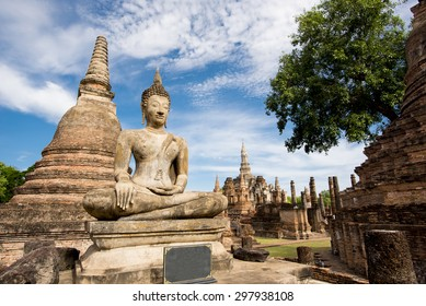 Ancient Buddha Statue at Sukhothai historical park, Mahathat Temple ,Thailand.