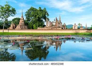 Ancient buddha statue. Sukhothai Historical Park, Sukhothai Province, Thailand