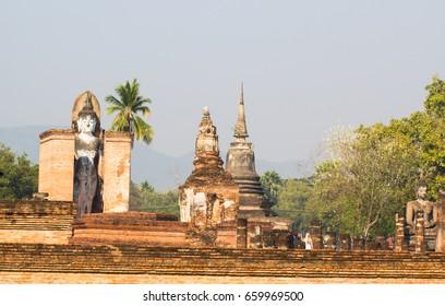 Ancient Buddha Statue at Sukhothai historical park, wat Mahathat Temple, Sukhothai Historical Park, Unesco