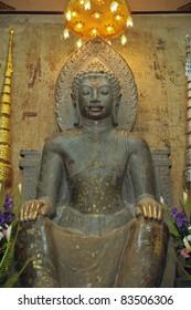 ancient buddha statue at the temple, Ayutthaya, Thailand