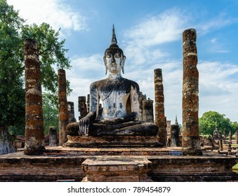 Ancient Buddha Statue   Wat Maha That  world heritage site Sukhothai historical park