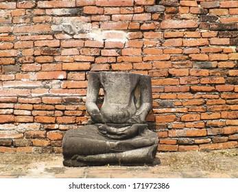 Ancient buddha statue, Wat Mahathat, Ayutthaya