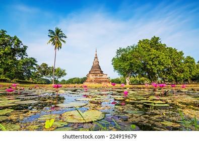 Ancient buddha Statue at Wat Mahathat in Sukhothai Historical Park,Thailand.