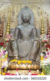 The ancient Buddha in the ubosot at Wat Naphrameru temple, Ayutthaya, Thailand, World Heritage Site