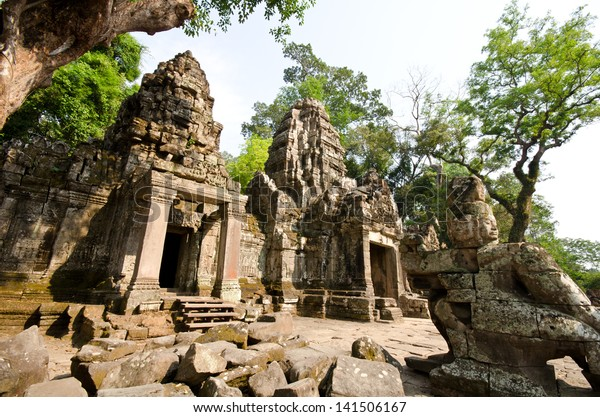 Ancient buddhist khmer temple in Angkor complex, Cambodia