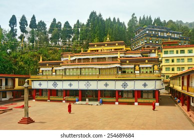Ancient Buddhist Monastery and Monks