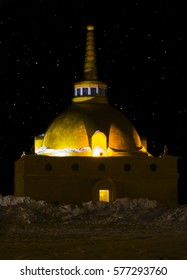 The ancient Buddhist stupa of reconciliation in the light of the stars, the city of Ulan-Ude.