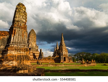 Ancient buddhist temple building with a storm moving in Ayutthaya, Thailand
