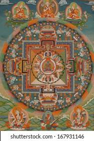 Ancient Buddhist thangka painting at a wall at Thiksey Monastery