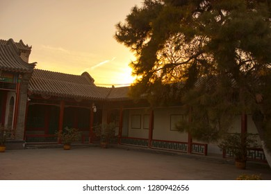 Ancient building in Baoding city, China. The famous ancient Lotus Pond  garden.