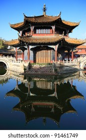 An ancient building in the courtyard of Yuantong temple in Kunming, China.
