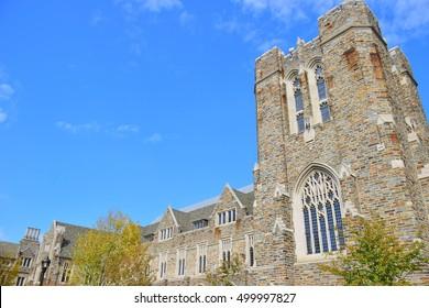 Ancient building in Duke University, North Carolina USA