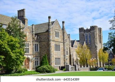 Ancient building in Duke University, North Carolina USA in October 2016