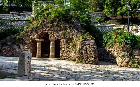 The ancient building of the Grotto of Diana in  park Flower-garden of resort Pyatigorsk.