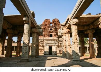 Ancient building ruins detail hampi india