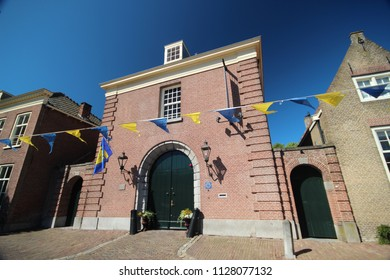 Ancient buildings in the city of Nieuwpoort in South-Holland in the Netherlands