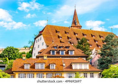 Ancient buildings with wooden roofs in Lucerne city in Switzerland
