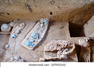 Ancient burial site of Neolithic men at Ban Kao, Kanchanaburi