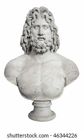 Ancient bust of the greek god Zeus isolated on white with clipping pah