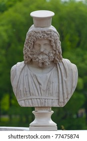 Ancient bust of the greek god Zeus in Petrodvorets. Saint-Petersburg, Russia