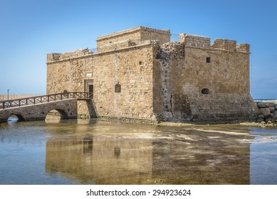 Ancient Byzantine fort on the Mediterranean harbor of Paphos, Cyprus.