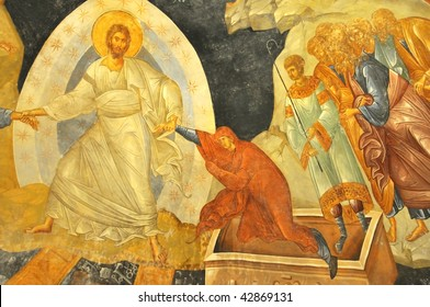 Ancient byzantine fresco of Jesus lifting Eve from her grave, on the half dome of the byzantine church of Saint Chora in constantinople