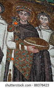 ancient byzantine mosaic masterpiece of the powerful emperor Justinian. From the UNESCO listed basilica of St Vitalis, Ravenna, Italy