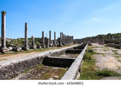 Ancient Byzantine ruins, Aspendos, Antalya Province, Turkey.