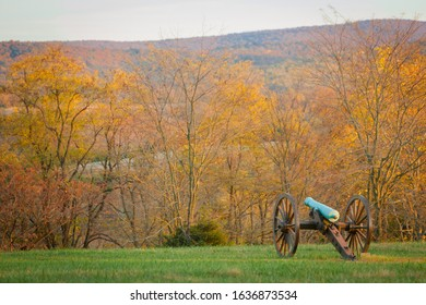 Ancient Cannon from the Civil War at the Antietam National Battlefield in Sharpsburg, Maryland, USA with colorful Trees on a Autumn Day
