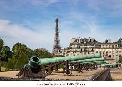 Ancient Cannons on Display in Front of Les Invalides in Paris