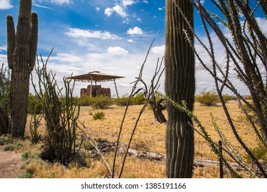 Ancient Casa Grande Pueblo.  One of the few multi-story pueblo dwellings existing today.  This structure is 800-900 years old.