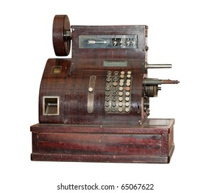 Ancient cash register. It is isolated on a white background