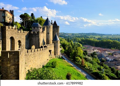 Ancient castle of Carcassonne overlooking the southern France countryside
