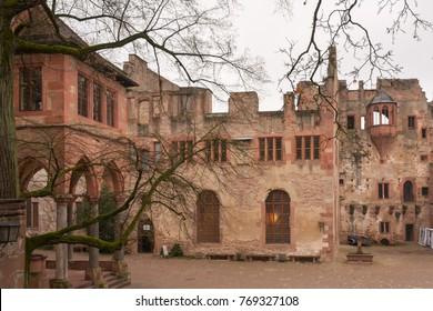 Ancient castle courtyard. Heidelberg, Germany.
