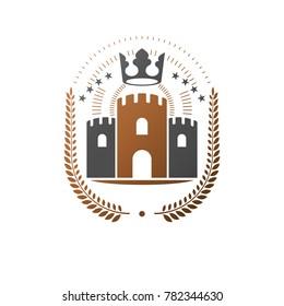 Ancient Castle emblem. Heraldic Coat of Arms decorative logo isolated illustration. Ornate logotype in old style on white background.