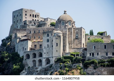 Ancient castle near Ischia island. Tourist target when traveling in Campania (Italy).