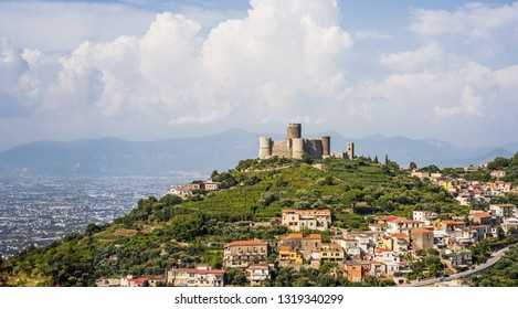 Ancient castle near Naples. Tourist target when traveling in Campania (Italy).