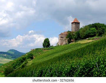 Ancient castle on the top of a vineyard hill