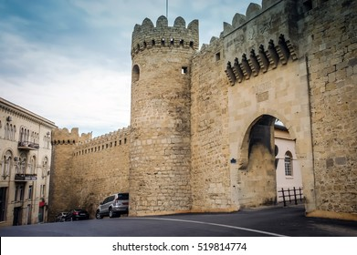 Ancient castle palace in Baku. Medieval castle door gate, walls and window. Castles palace fort isolated. Castle wall tower. Castles landscape background. Stone medieval architecture in city center