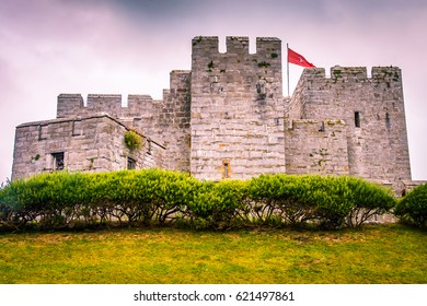 Ancient castle palace in Isle of Man. Castle wall tower and door gate. Castles walls and window. Palace fort background. Stone architecture Medieval Isle of Man castles