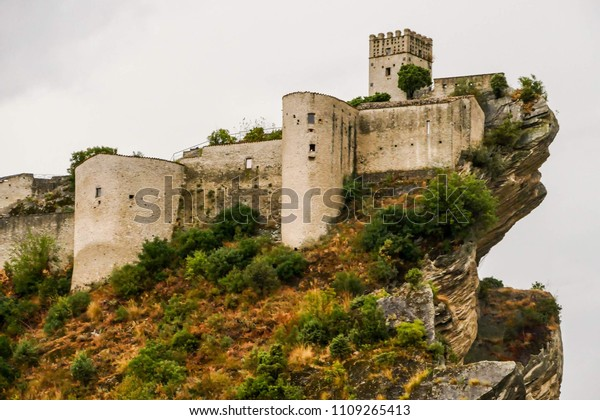 Ancient castle of Roccascalegna sited on a rocky headland Abruzzo Italy