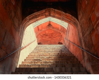 ancient castle staircase in india